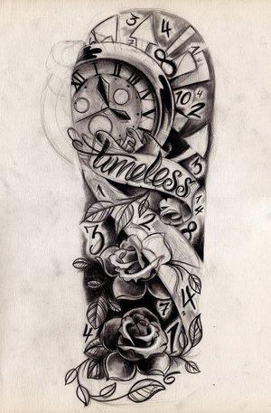 Awesome Grey Ink Half Sleeve Tattoo Designs