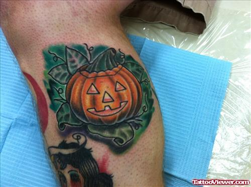 Color Ink Halloween Pumpkin Tattoo On Leg