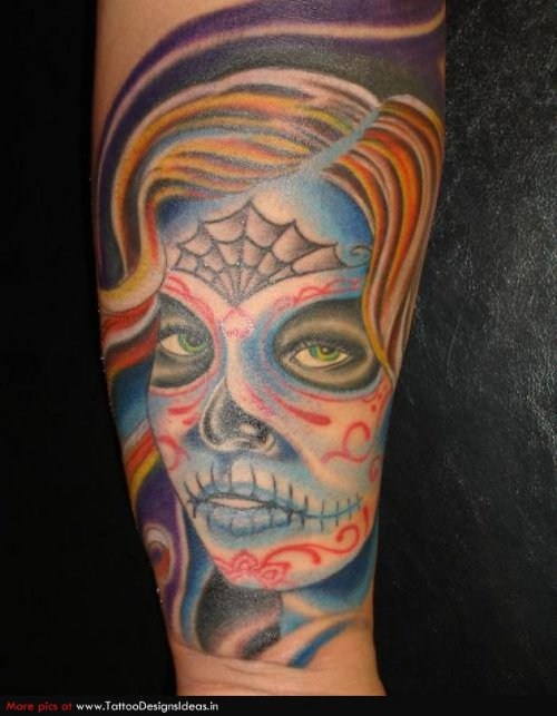 Horror Color Ink Halloween Tattoo On Sleeve