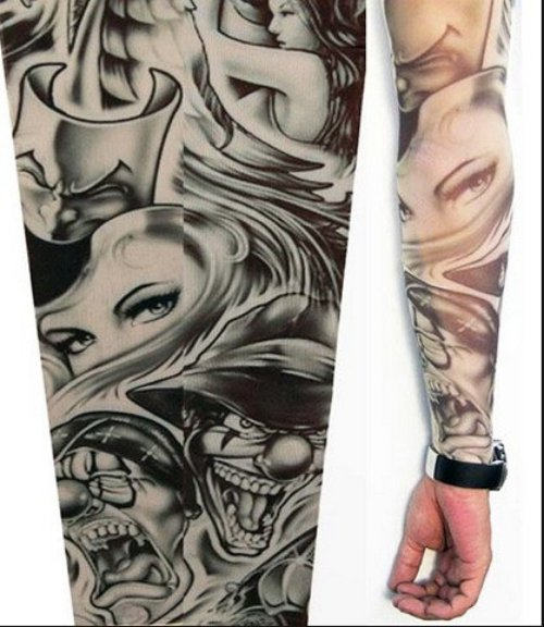 Unique Grey Ink Halloween Tattoo On Full Sleeve