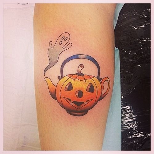Halloween Pumpkin Cattle Tattoo On Arm