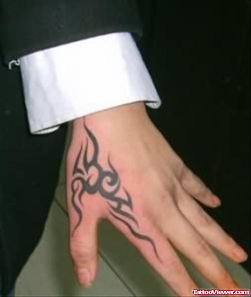 Small Tribal Hand Tattoo