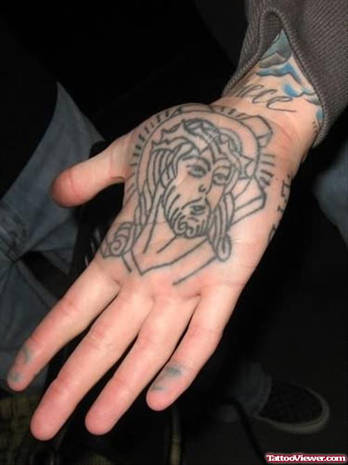 Jesus Face Tattoo On Hand