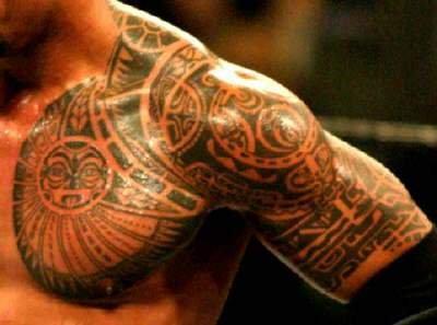 Amazing Hawaiian Chest And Half sleeve Tattoo