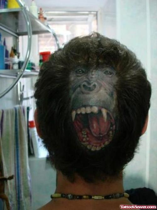 Chimpaze Head Tattoo On Back Head