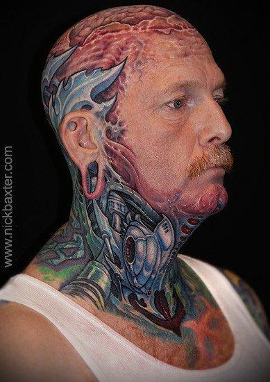 Colored Biomechanical Head Tattoo