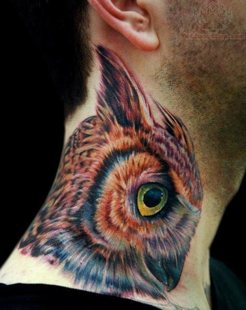Awesome Color Ink Head Head Tattoo