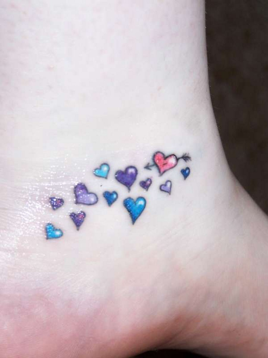 Awesome Colored Heart Tattoos On Ankle