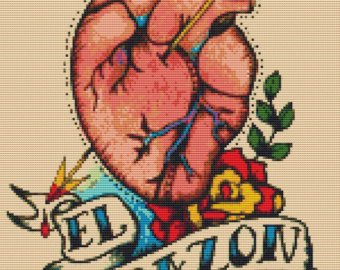 Amazing Banner And Human Heart Tattoo Design