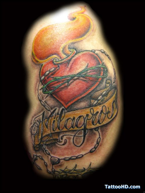 Banner And Heart Tattoo