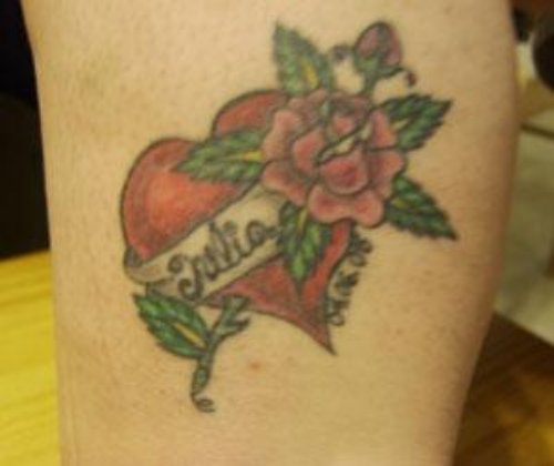 Rose Flower And Red Heart Tattoo On Bicep