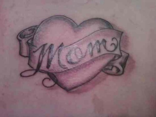 Grey Ink Mom Banner And Heart Tattoo Design