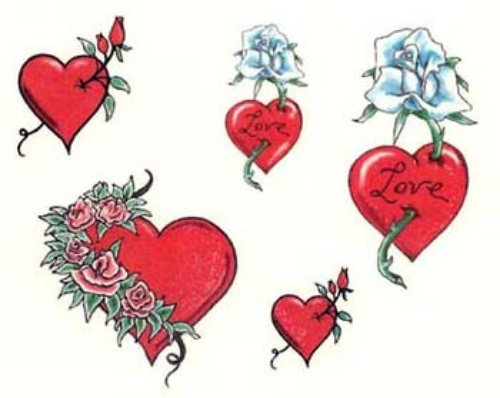 Red Hearts Tattoos Design