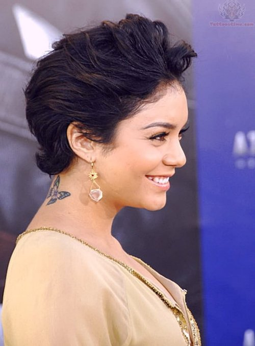 Vanessa Hudgens Insect Tattoo On Neck