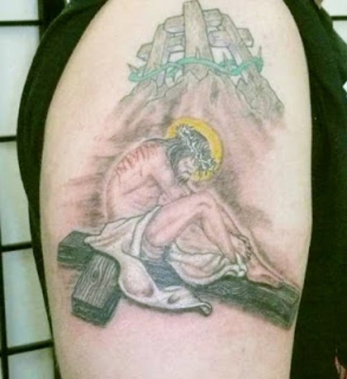 Jesus On Cross Tattoo On Right Shoulder