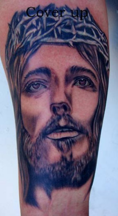 Awesome Jesus Head Tattoo On Sleeve