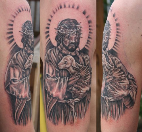 Amazing Grey Ink Jesus With Sheep Tattoo On Sleeve
