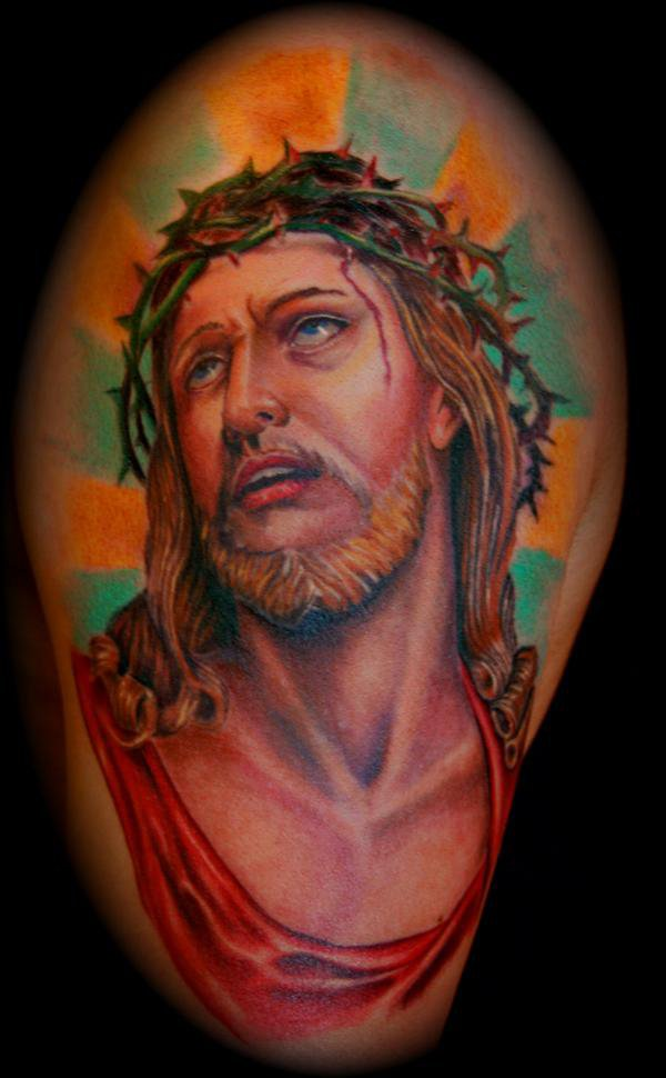 Colored Jesus Tattoo Design