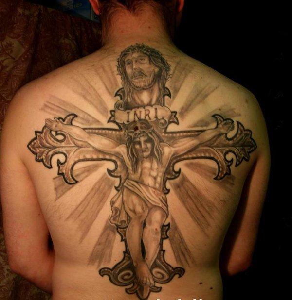 Grey Inkc Cross And Jesus Tattoo On Back