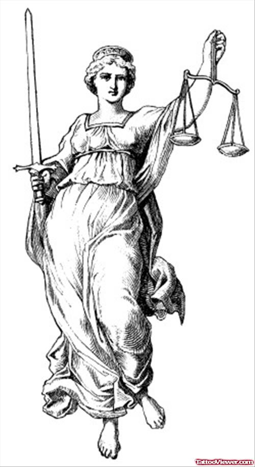 Amazing Grey Ink Lady Justice Tattoo Design