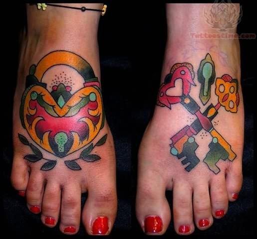 Colorful Key Tattoos On Feet