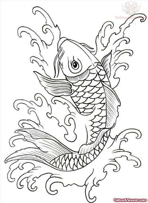 Koi Outline Tattoo Designs