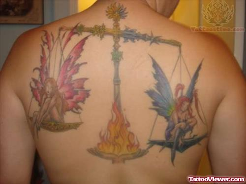 Libra Colored Tattoo On Back