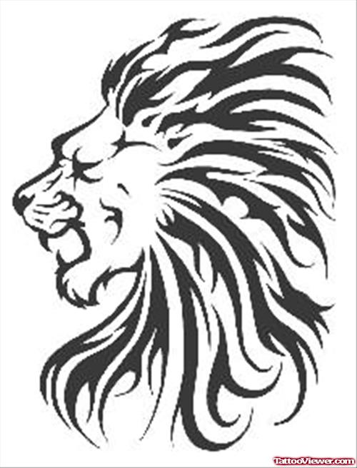Lion Head Tattoo Sample