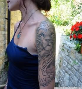 Baby Lion Face Tattoo On Arm