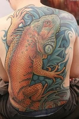 Beautiful full Coloured Lizard Tattoo