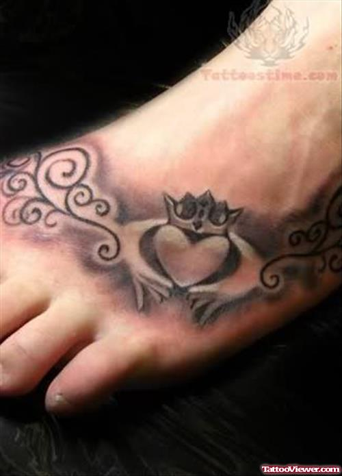 Claddagh Love Tattoo On Foot
