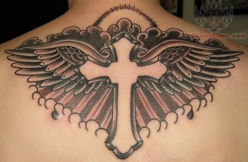 Croos Wings Memorial Tattoo