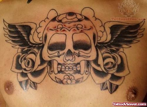 Mexican Skull Tattoo On Chest