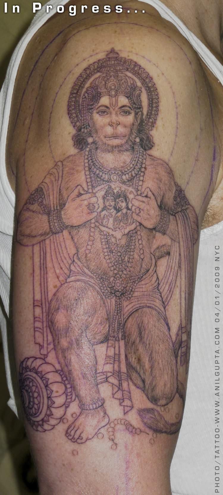 Hanuman Monkey Tattoo On Bicep