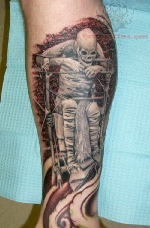 Mummy Tattoo On Leg