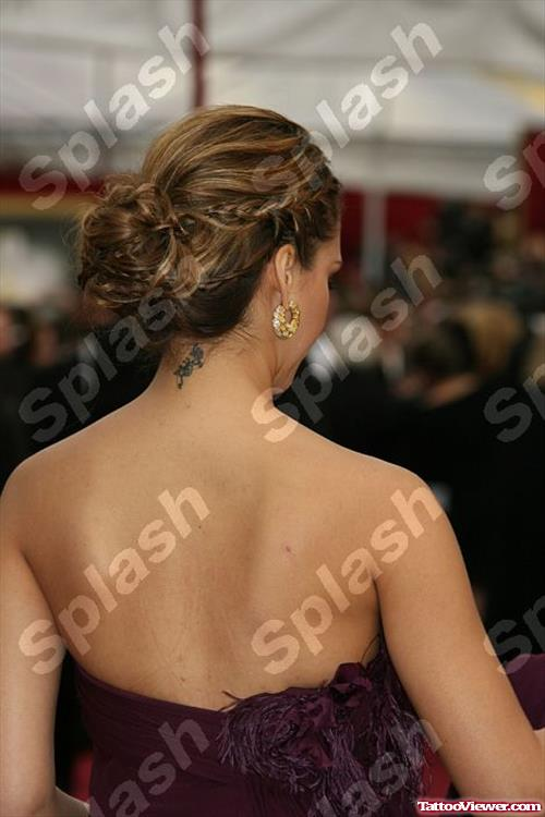 Jessica Alba wITH Back Neck Tattoo