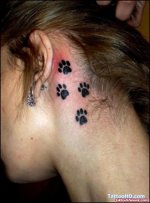 Black Ink Paw Prints Side Neck Tattoo