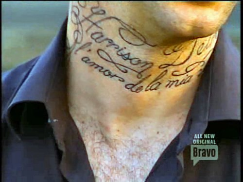 Beautiful Lettering Neck Tattoo For Men