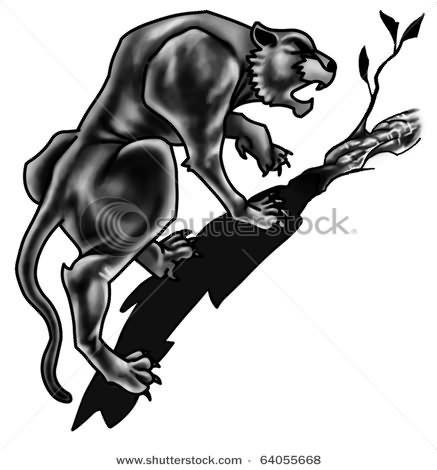 Black Panther On Tree Tattoo design