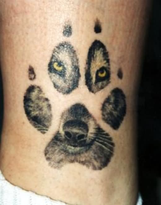 Cool wolf Paw & Face Tattoo