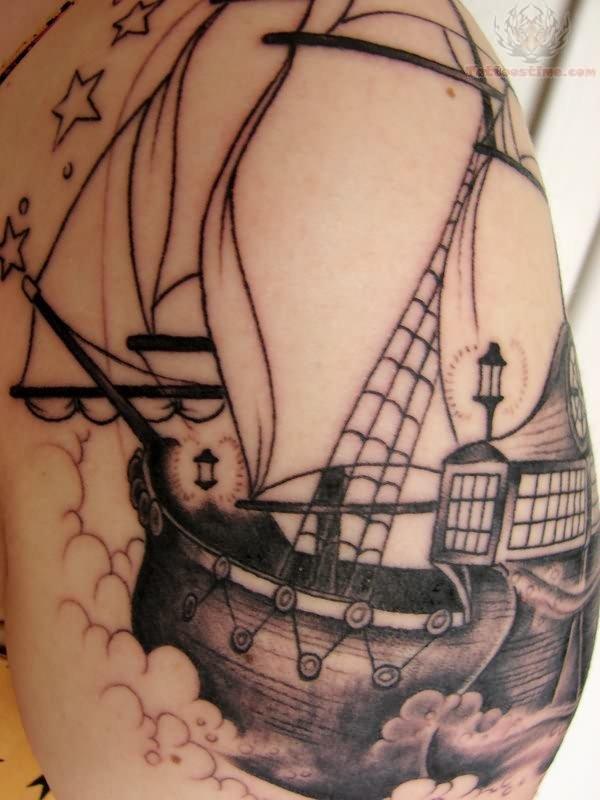 Awesome Pirate Ship Tattoo