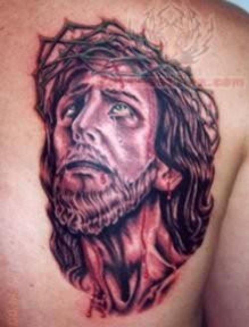 Jesus Christ Religious Tattoo On Back Shoulder