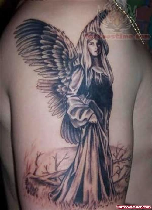 Angel - Rememberence Tattoo On Shoulder