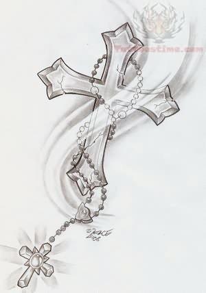 Cross Tattoos Rosary Pattern
