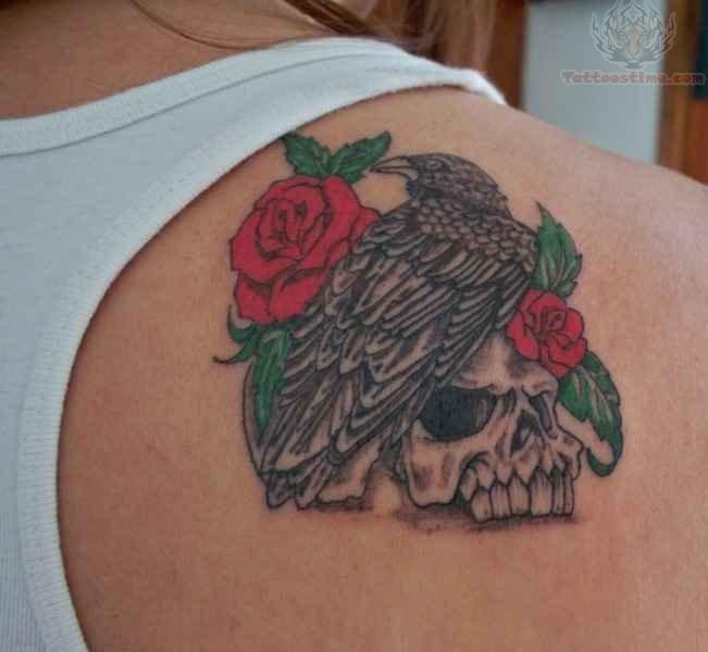 Skull Tattoo On Back Shoulder