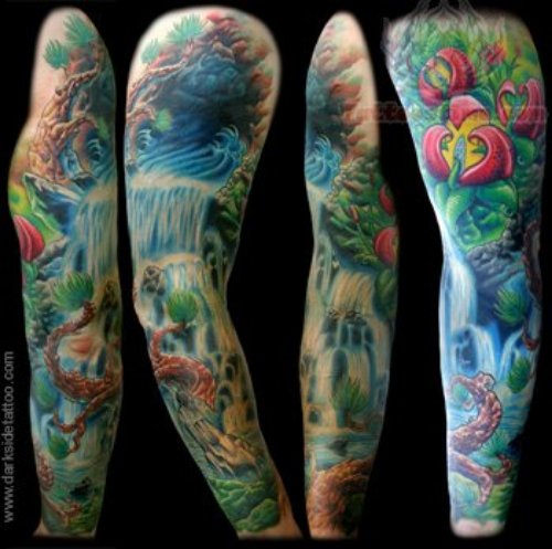 Wildlife Colored Sleeve Tattoo