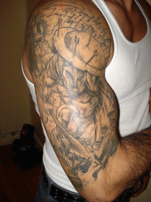 Satan Grey Ink Sleeve Tattoo For Men