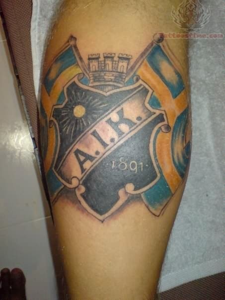 AIK Sports Tattoo On Leg