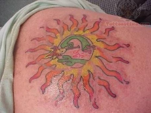 Stylish Sun Tattoo On Back Body