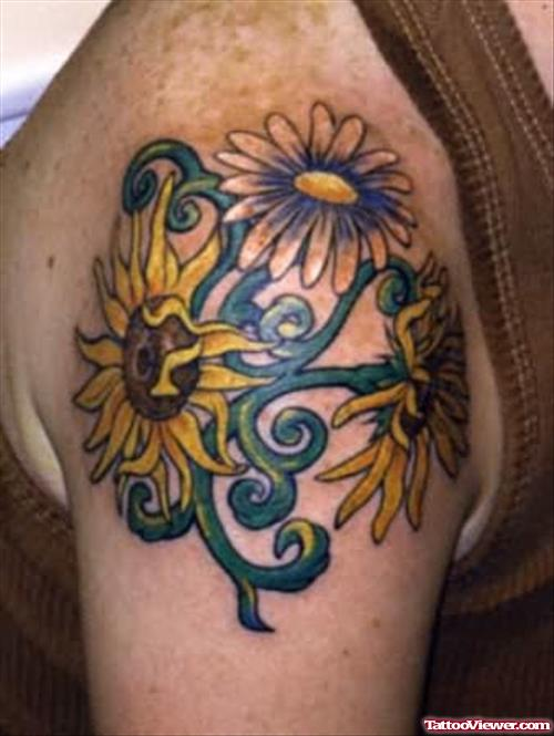 Sunflowers Tattoos On Shoulder